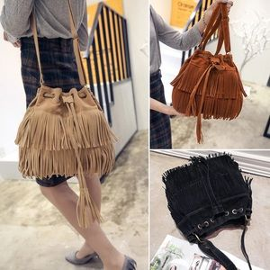 Handbags - Tassel Shoulder bag Retro Faux Fringe Tote Handbag
